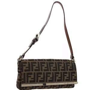 Authentic FENDI ZUCCA BAGUETTE BAG brown black EUC